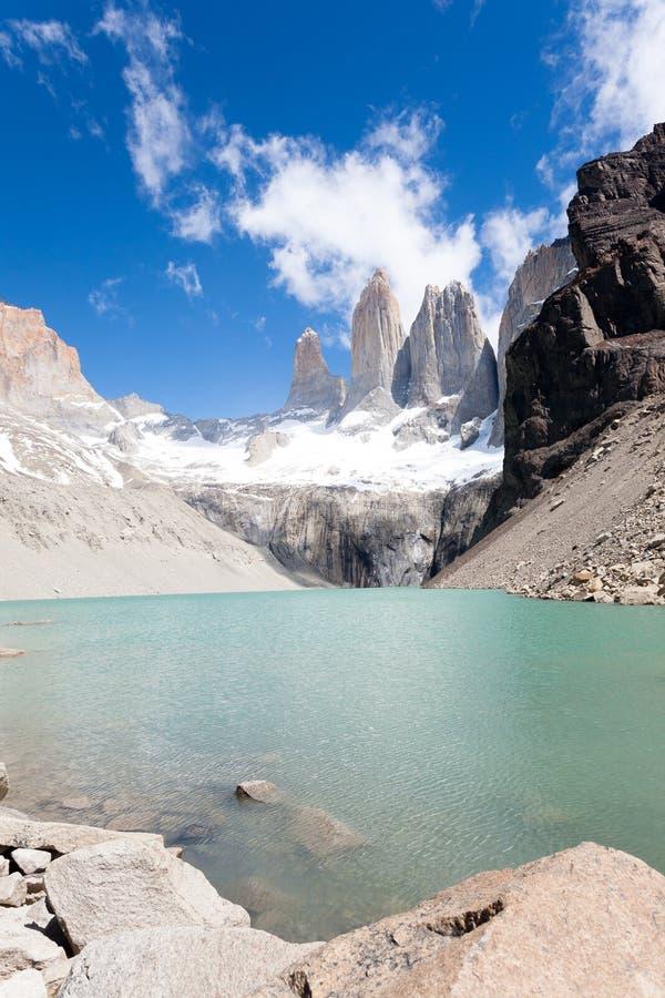 托里斯del潘恩峰顶视图,智利地标 库存图片