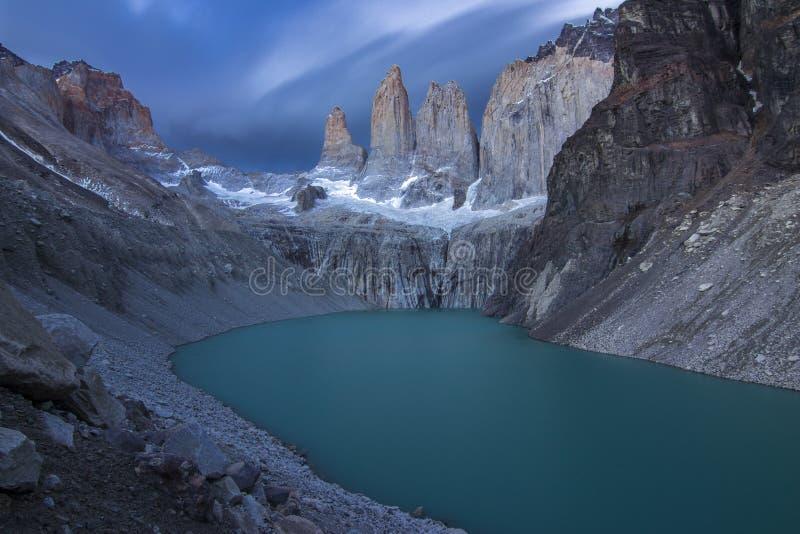 托里斯del A?潘恩国家公园、黎明和云彩,巴塔哥尼亚,智利 免版税库存图片