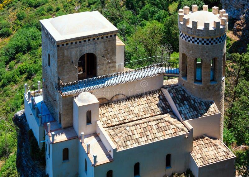托雷塔Pepoli城堡在埃里切,西西里岛,意大利 库存照片