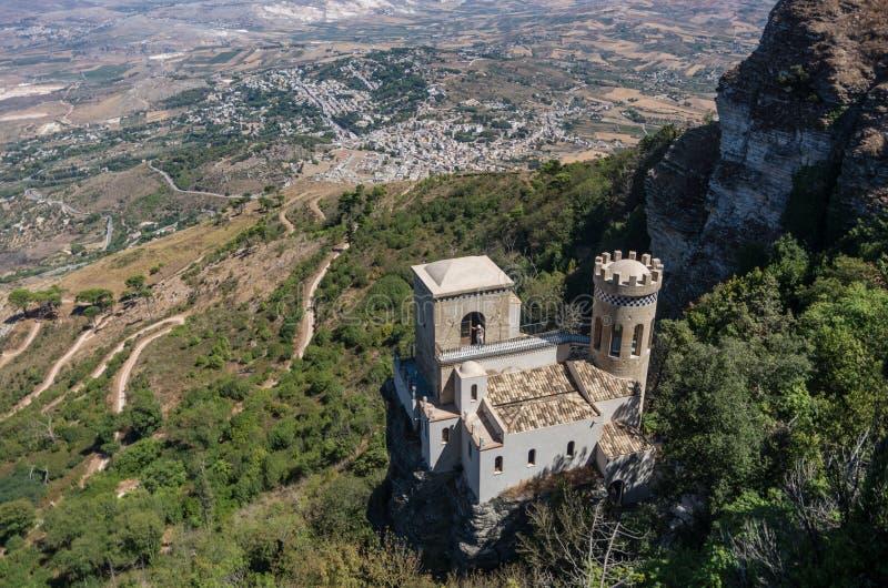 托雷塔Pepoli -在老历史的西西里人的拖曳的一点城堡 库存照片