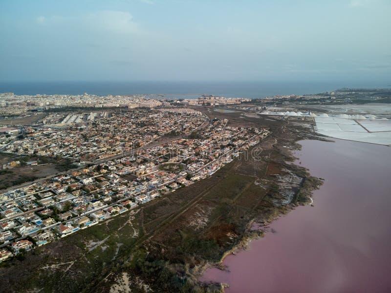 托雷维耶哈都市风景和Las盐沼全景鸟瞰图  免版税图库摄影
