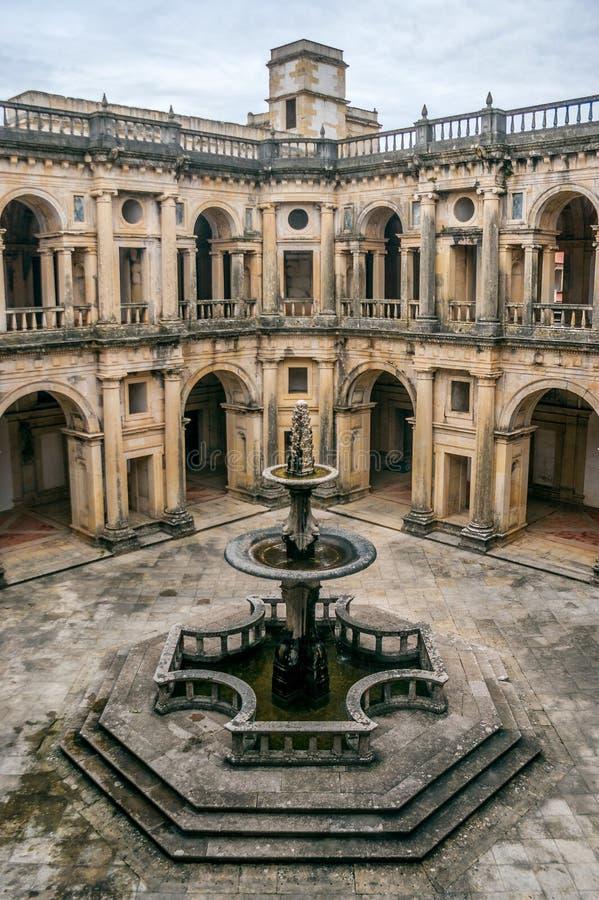 托马尔的基督会院的主要修道院在托马尔,葡萄牙 免版税库存图片