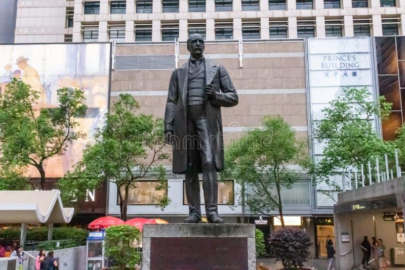 托马斯杰克逊,香港先生皇后象广场的雕象  免版税库存图片