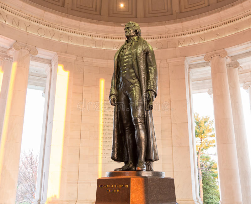 托马斯・杰斐逊华盛顿特区雕象  免版税库存照片