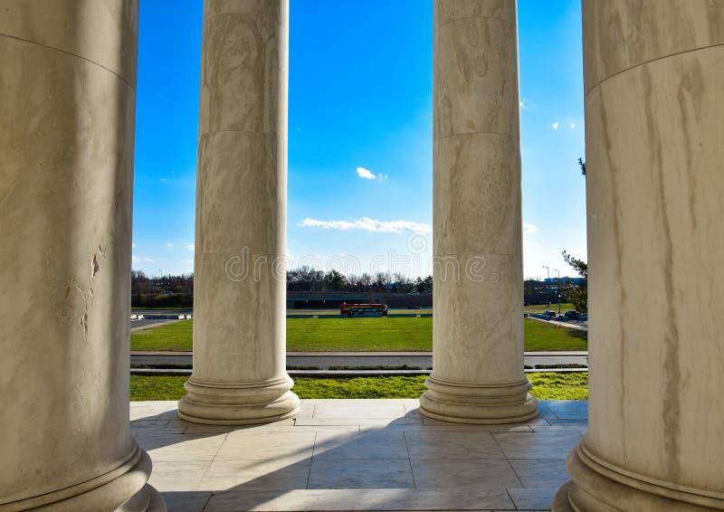 托马斯・杰斐逊纪念品的专栏 华盛顿特区,美国 免版税库存照片