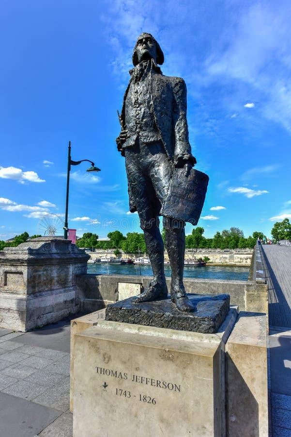 托马斯・杰斐逊雕象-巴黎,法国 免版税图库摄影