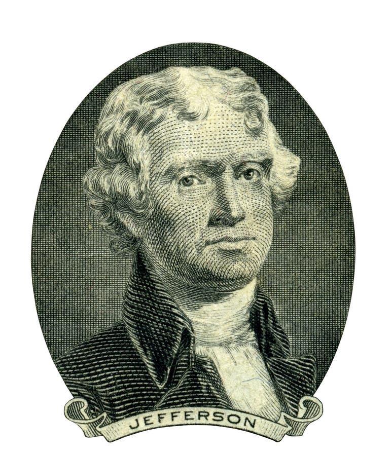 托马斯・杰斐逊总统画象(裁减路线) 库存例证