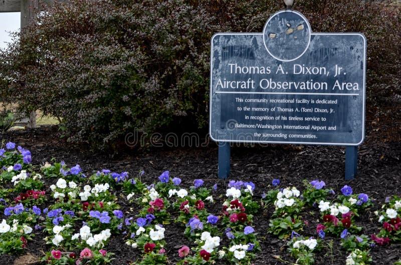 托马斯A 狄克逊,小 航空器观察区域标志 免版税库存图片