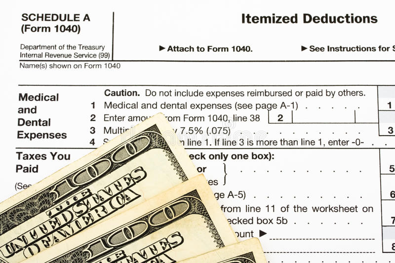 扣除额联邦表单项目税务 免版税库存照片