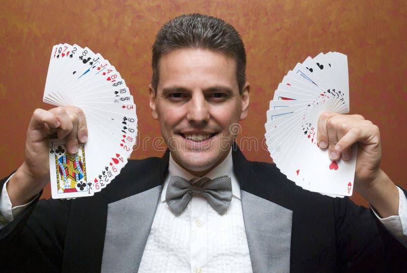 执行与看板卡的魔术师 库存图片
