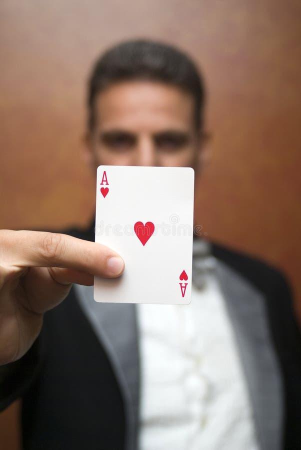 执行与看板卡的魔术师 图库摄影