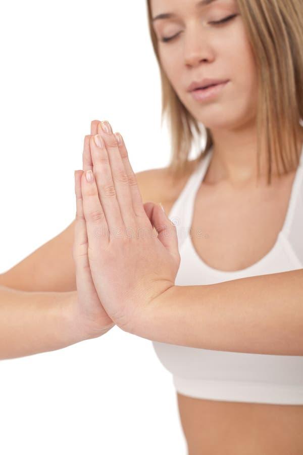 执行健身健康女子瑜伽年轻人 图库摄影