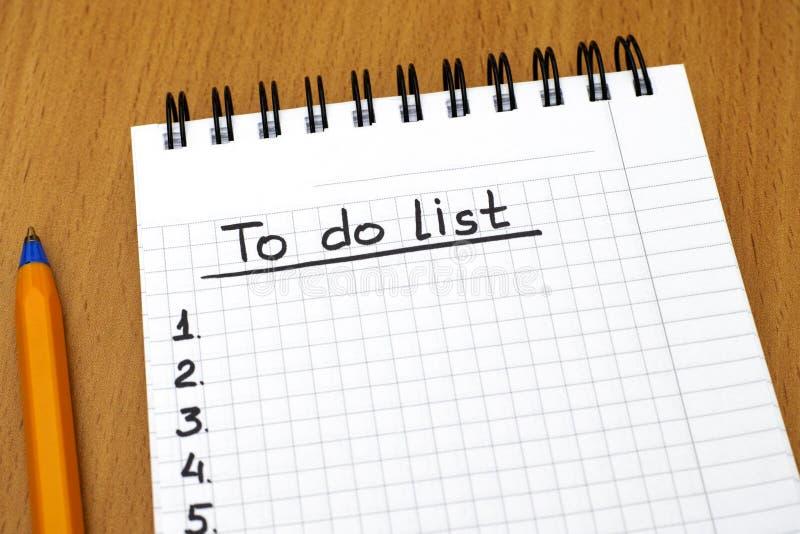 执行列表 免版税库存图片