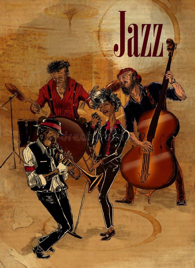 执行在一家地下俱乐部的爵士乐队 向量例证