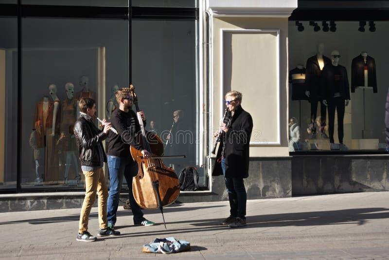 执行在街道上的音乐家 免版税库存图片