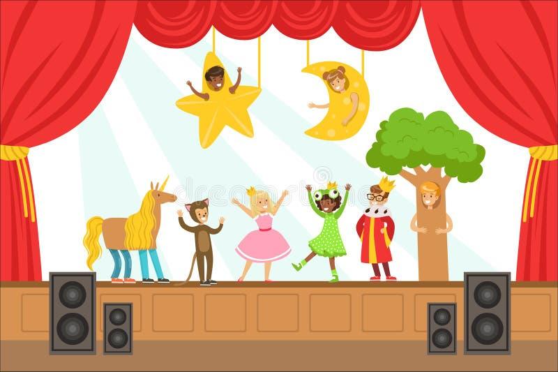 执行在阶段的儿童演员童话在才艺表演五颜六色的传染媒介例证与有天才的Schoolkids 皇族释放例证