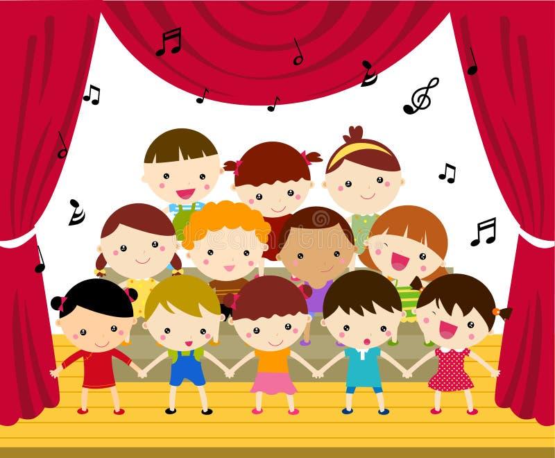 执行在阶段的小孩子的唱诗班 皇族释放例证