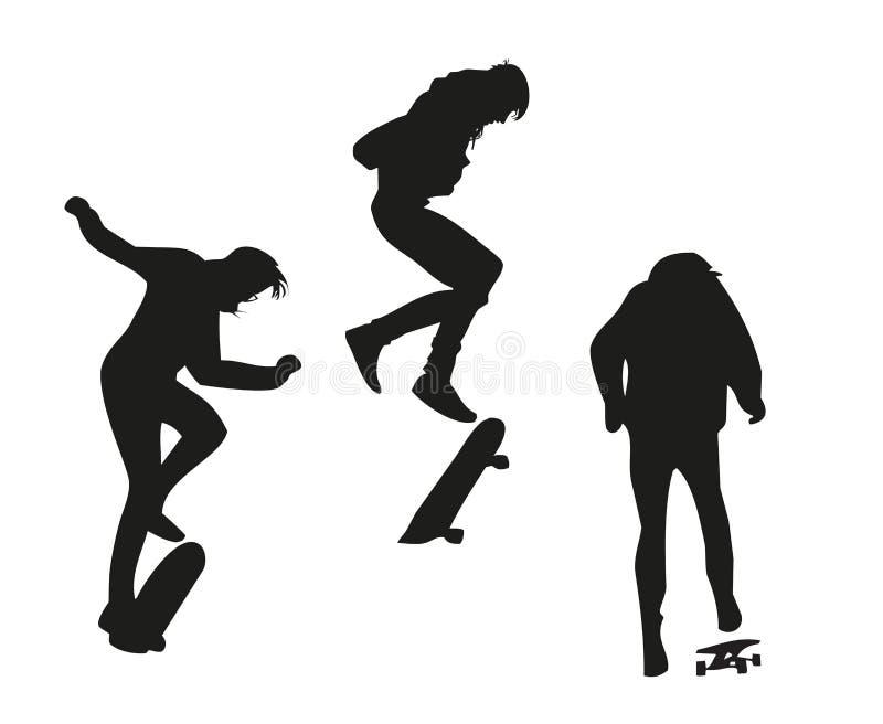 执行在滑板的年轻溜冰板者一个把戏 库存图片