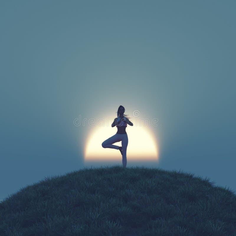 执行女子瑜伽年轻人 向量例证