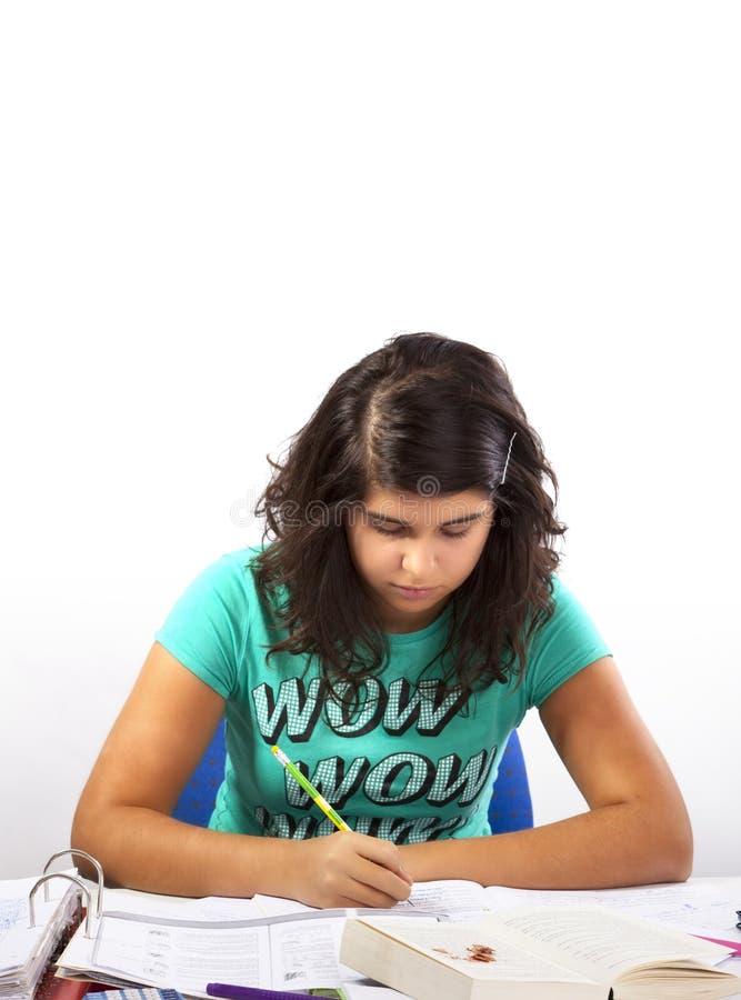 执行女孩家庭作业 免版税库存照片
