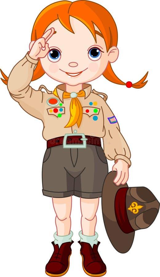 执行女孩现有量侦察员符号的男孩 皇族释放例证