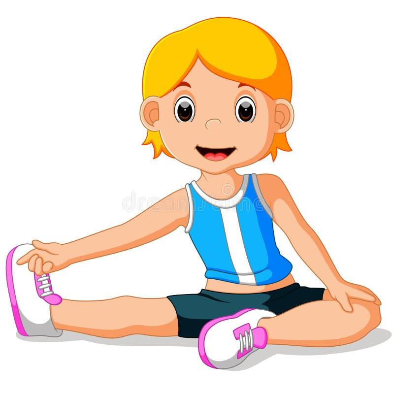 执行女孩瑜伽年轻人 库存例证