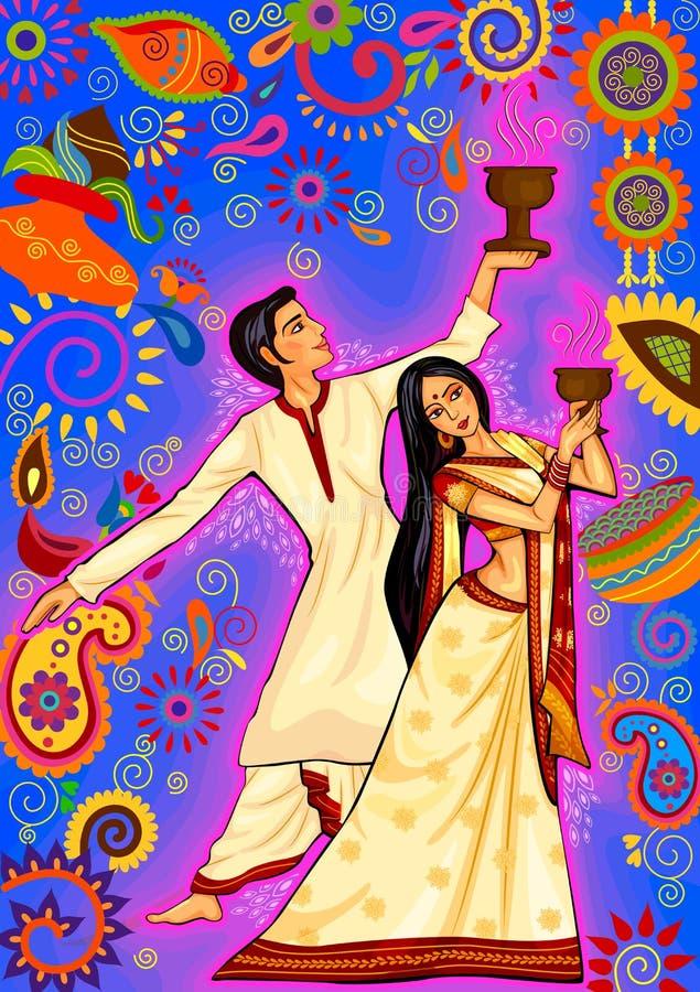 执行孟加拉的Dhunuchi舞蹈的杜尔加的Puja夫妇在印地安艺术样式 皇族释放例证