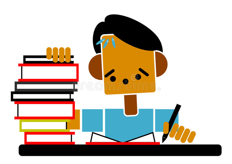 执行家庭作业学员 库存例证