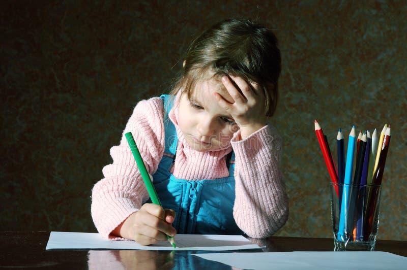 执行家庭作业学校的子项 免版税库存图片
