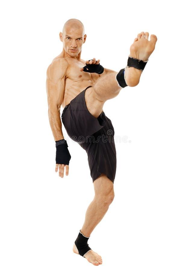 执行强有力的反撞力的Kickboxer 库存图片