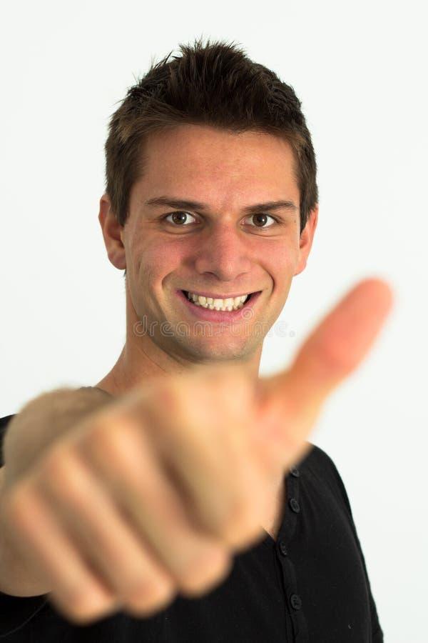 执行愉快的人微笑的赞许 免版税图库摄影