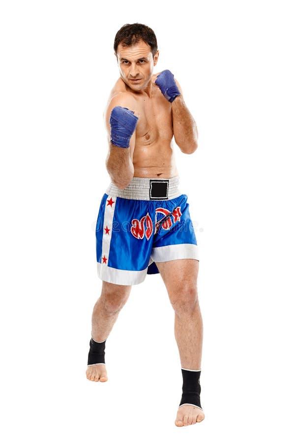 执行拳打的Kickbox战斗机 免版税库存图片