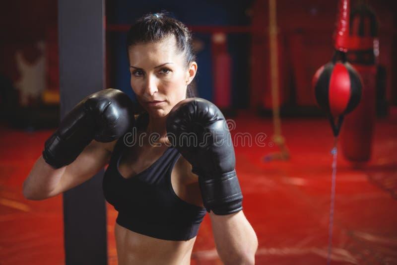 执行拳击姿态的确信的女性拳击手 图库摄影