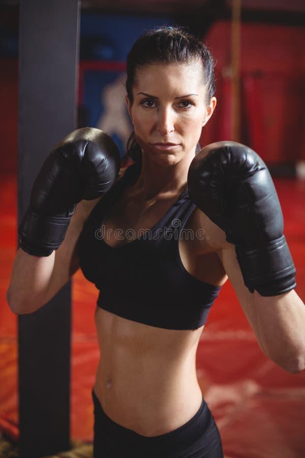 执行拳击姿态的确信的女性拳击手 免版税库存照片