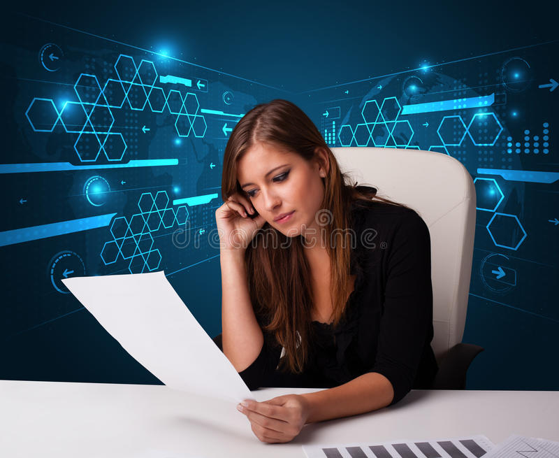 Download 执行文书工作有未来派背景的女实业家 库存照片. 图片 包括有 女性, 财务, 执行委员, 室内, 夫人, 纸张 - 62526526
