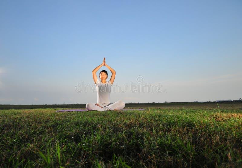 执行瑜伽的亚洲女孩草公园 库存图片
