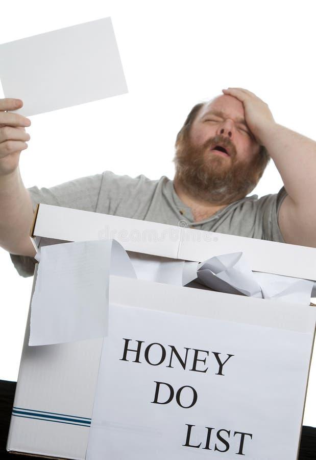 执行蜂蜜列表 免版税库存照片