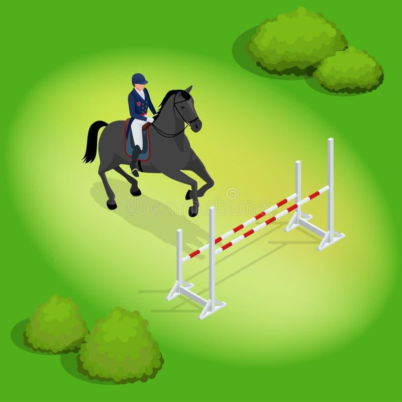 执行跃迁的等量年轻车手女孩在马跳跃赛 马术运动背景 向量 皇族释放例证