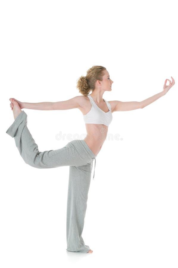 执行阁下natarajasana姿势女子瑜伽的舞蹈 库存图片