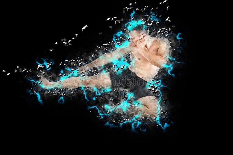 执行飞行边反撞力的运动拳击手战斗机 免版税库存图片