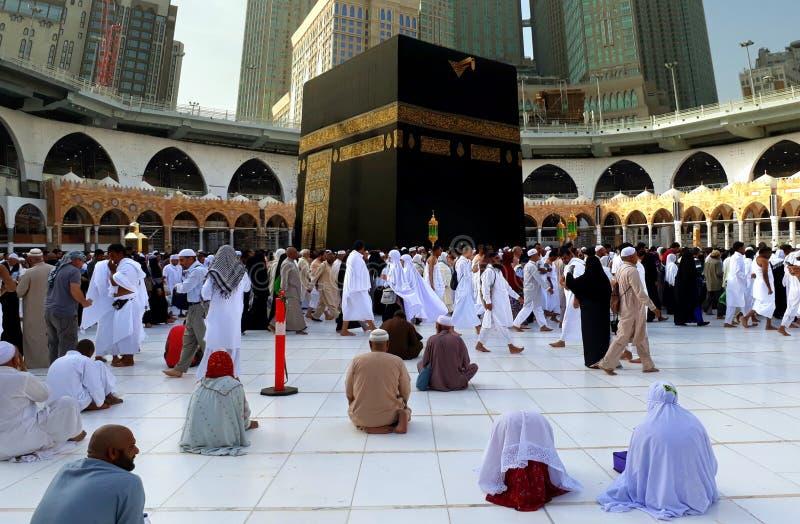 执行tawaf的穆斯林在圣洁Kaabah早晨 穆斯林面对方向  库存图片