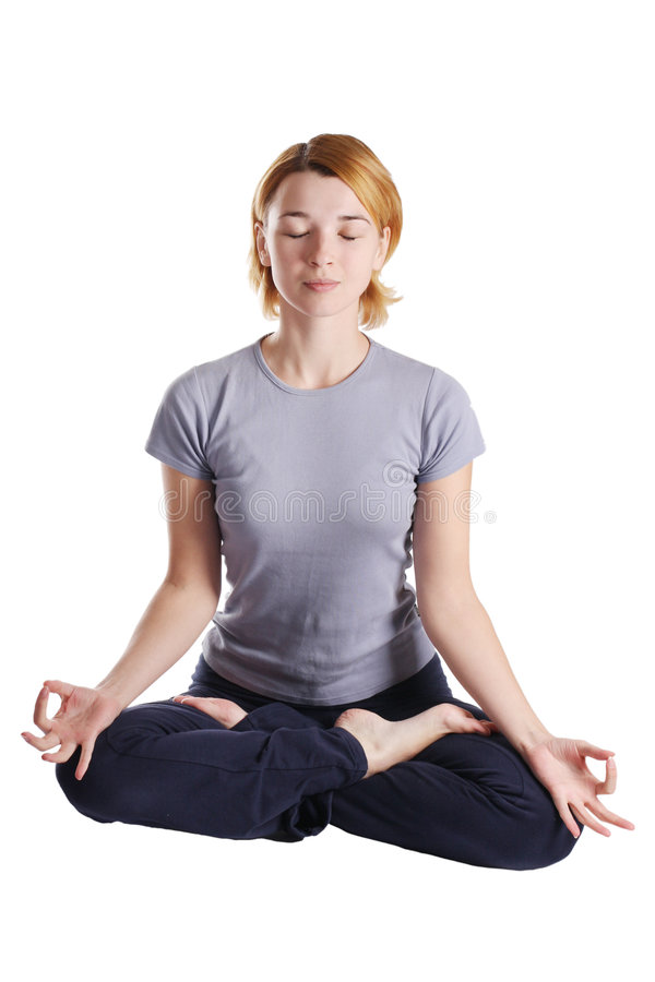 执行yogatic exericise的女性 库存图片