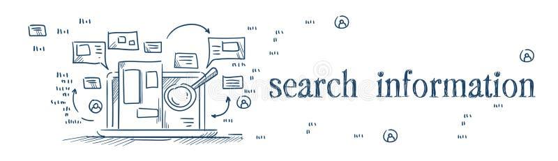 扩大化关于膝上型计算机互联网浏览概念的玻璃查寻信息在白色背景剪影乱画横幅 库存例证