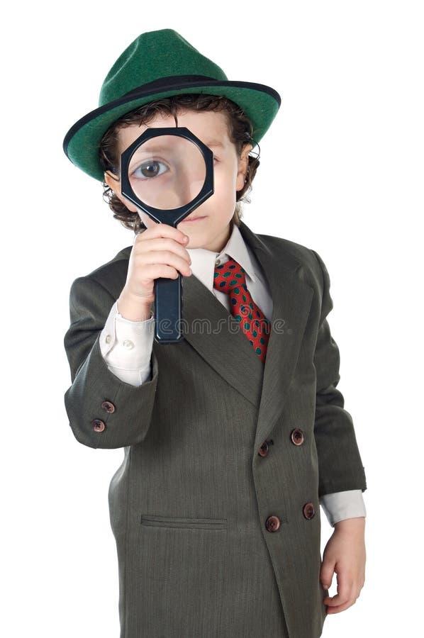 扩大化玻璃的孩子 库存照片