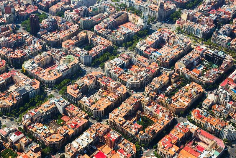 扩展区区鸟瞰图  巴塞罗那西班牙 免版税图库摄影
