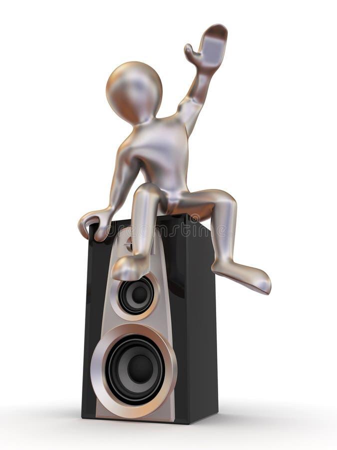 扩音器供以人员坐 向量例证