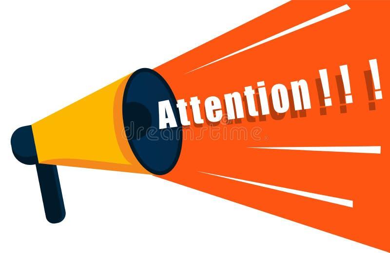 扩音器说注意 有空间的扩音机文本的 海报的扩音机,重要消息和 皇族释放例证