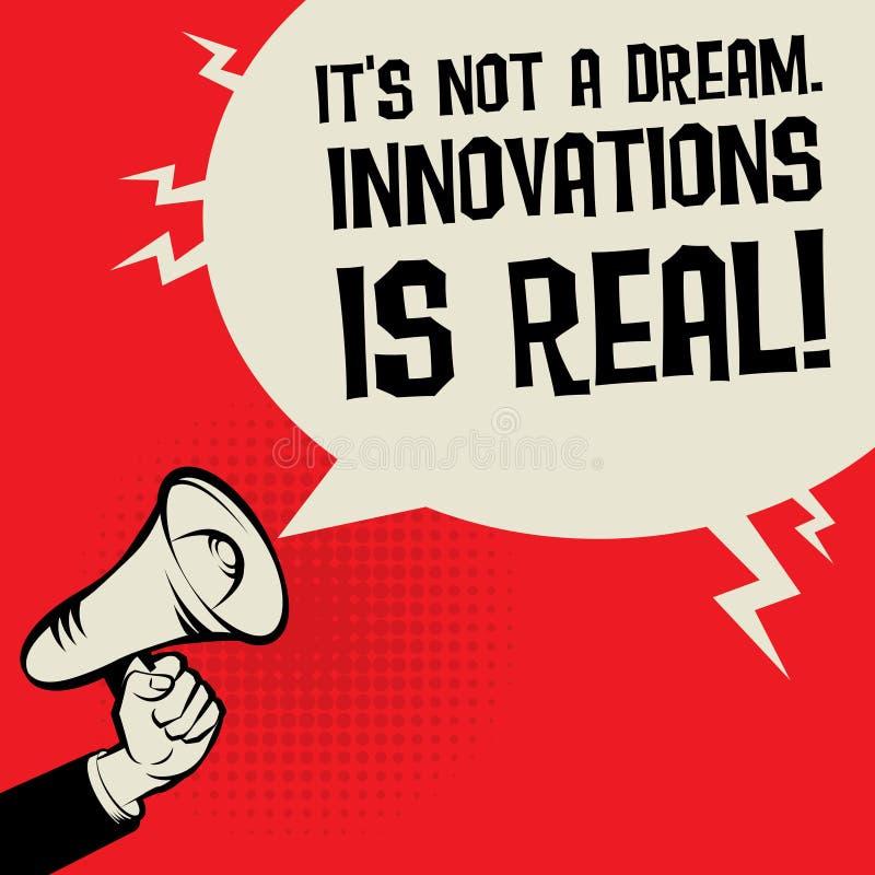 扩音机它手的概念不是梦想 创新是真正的 向量例证