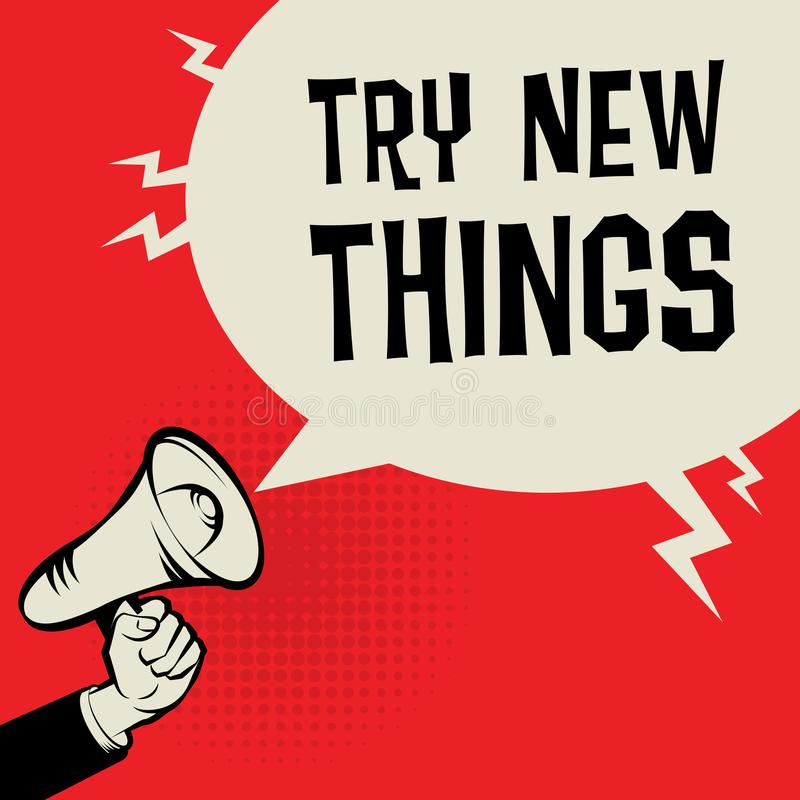 扩音机手,与文本尝试新的事的企业概念 向量例证
