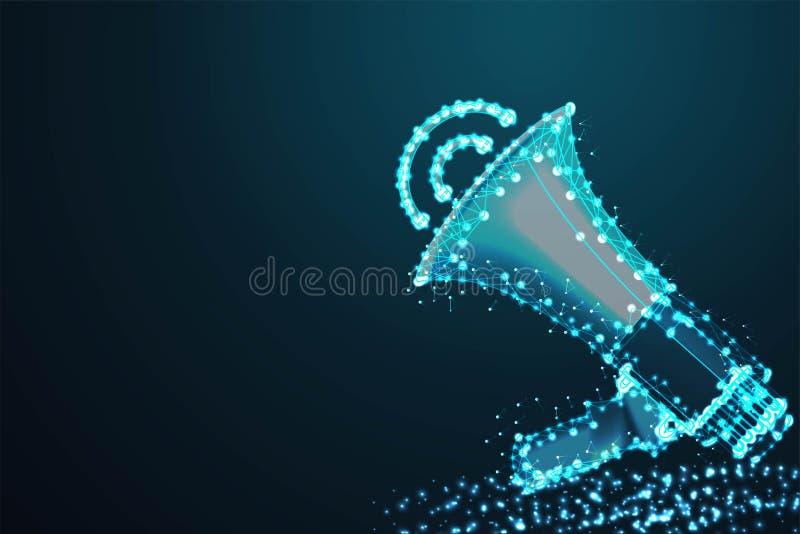 扩音机,聘用,摘要导线低多,多角形导线框架滤网看起来象在深蓝夜空的星座与小点和 库存例证